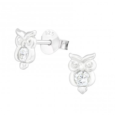 Owl - 925 Sterling Silver Ear Studs with Zirconia stones A4S40115