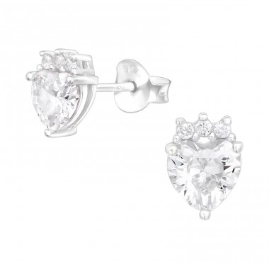 Heart with crown - 925 Sterling Silver Ear Studs With Zirconia Stones A4S40119