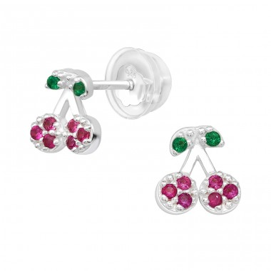 Cherry - 925 Sterling Silver Ear Studs with Zirconia stones A4S40127