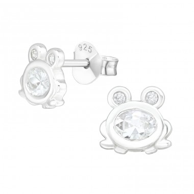 Frog - 925 Sterling Silver Ear Studs with Zirconia stones A4S40131