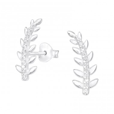 Leaf - 925 Sterling Silver Ear Studs with Zirconia stones A4S40132
