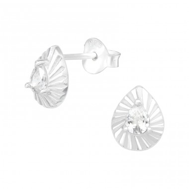 Leaf - 925 Sterling Silver Ear Studs with Zirconia stones A4S40140
