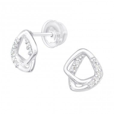 Geometric - 925 Sterling Silver Ear Studs with Zirconia stones A4S40149