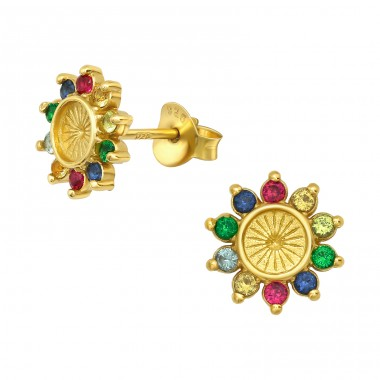 Multicolor Zirconia Flower - 925 Sterling Silver Ear Studs With Zirconia Stones A4S40150