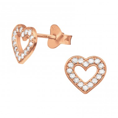 Rosegold Heart - 925 Sterling Silver Ear Studs With Zirconia Stones A4S40284