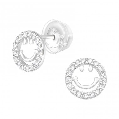 Smile - 925 Sterling Silver Ear Studs with Zirconia stones A4S40373