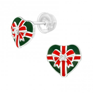 Gift in heart shape - 925 Sterling Silver Ear Studs With Zirconia Stones A4S40382