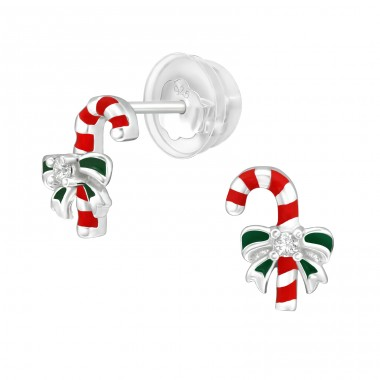 Candy Canes - 925 Sterling Silver Ear Studs with Zirconia stones A4S40384