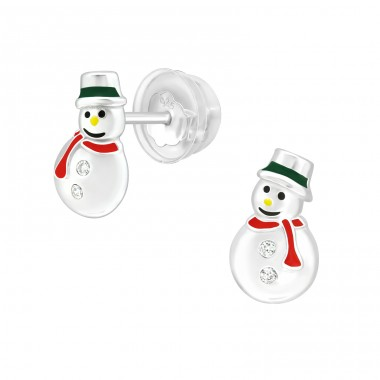 Snowman - 925 Sterling Silver Ear Studs with Zirconia stones A4S40387
