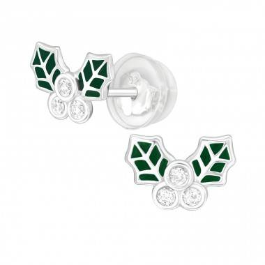 Holly Leaves - 925 Sterling Silver Ear Studs with Zirconia stones A4S40389
