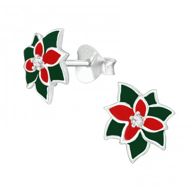 Holly with Zirconia - 925 Sterling Silver Ear Studs With Zirconia Stones A4S40391