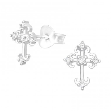Cross - 925 Sterling Silver Ear Studs with Zirconia stones A4S40396