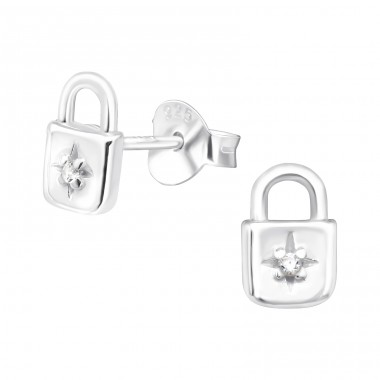 Padlock - 925 Sterling Silver Ear Studs with Zirconia stones A4S40477