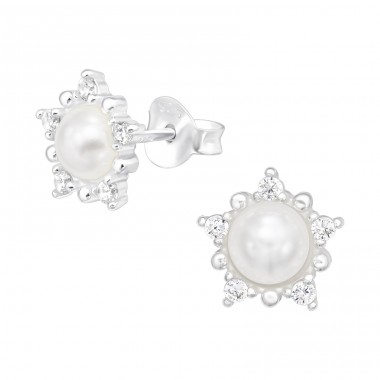 Flower with pearl - 925 Sterling Silver Ear Studs With Zirconia Stones A4S40488
