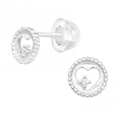 Rounded Heart with stone - 925 Sterling Silver Ear Studs With Zirconia Stones A4S40490