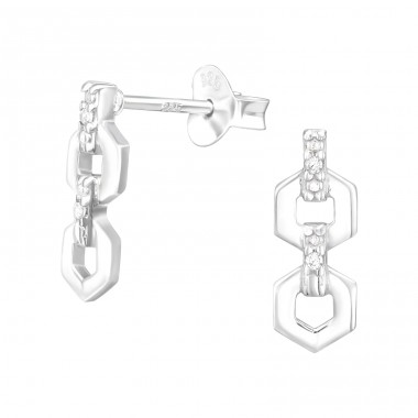 Chain Links - 925 Sterling Silver Ear Studs with Zirconia stones A4S40491