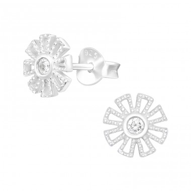 Zirconia Flower - 925 Sterling Silver Ear Studs With Zirconia Stones A4S40492