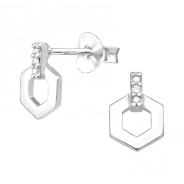 Hexagon - 925 Sterling Silver Ear Studs with Zirconia stones A4S40493