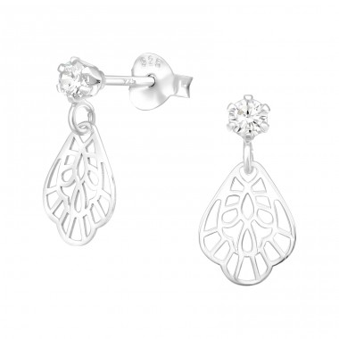 Flower - 925 Sterling Silver Ear Studs with Zirconia stones A4S40494