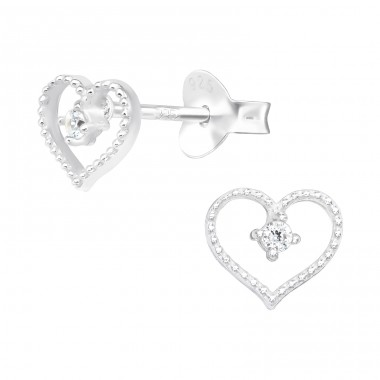 Fine Heart with stones - 925 Sterling Silver Ear Studs With Zirconia Stones A4S40495
