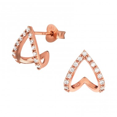 Rosegold reverse Heart with white stones - 925 Sterling Silver Ear Studs With Zirconia Stones A4S40544