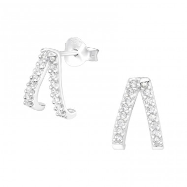 Geometric - 925 Sterling Silver Ear Studs with Zirconia stones A4S40545