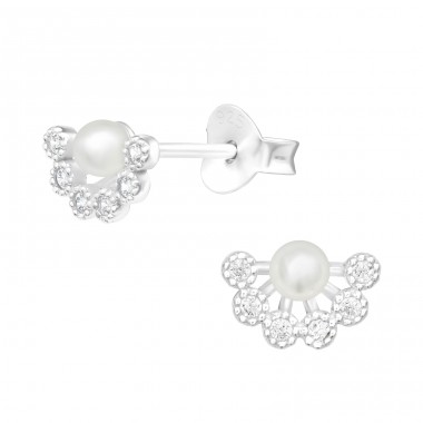 Geometric with Zirconia and pearl - 925 Sterling Silver Ear Studs With Zirconia Stones A4S40547