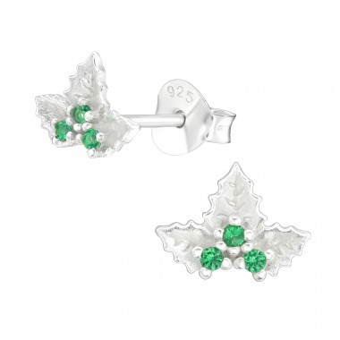 Holly Bead - 925 Sterling Silver Ear Studs with Zirconia stones A4S40548