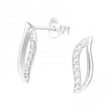 Leaf - 925 Sterling Silver Ear Studs with Zirconia stones A4S40549