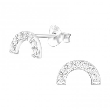 Half circle with zirconia - 925 Sterling Silver Ear Studs With Zirconia Stones A4S40553
