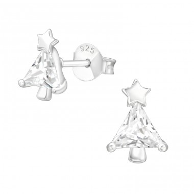 Christmas Tree - 925 Sterling Silver Ear Studs with Zirconia stones A4S40554