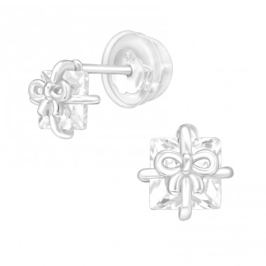 Gift Box - 925 Sterling Silver Ear Studs with Zirconia stones A4S40555