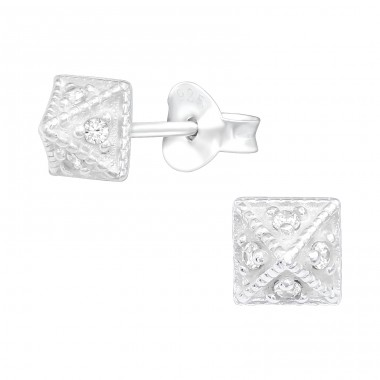 Pyramid with Zirconias - 925 Sterling Silver Ear Studs With Zirconia Stones A4S40557