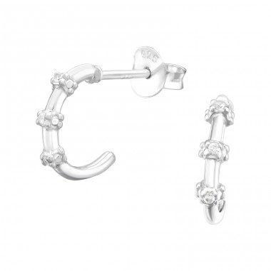 Half Hoop - 925 Sterling Silver Ear Studs with Zirconia stones A4S40587