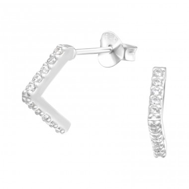 Triangle - 925 Sterling Silver Ear Studs with Zirconia stones A4S40589