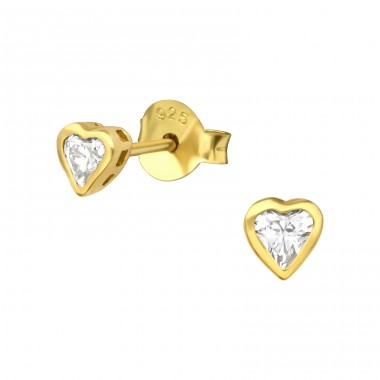 Gold zirconium Heart - 925 Sterling Silver Ear Studs With Zirconia Stones A4S40669