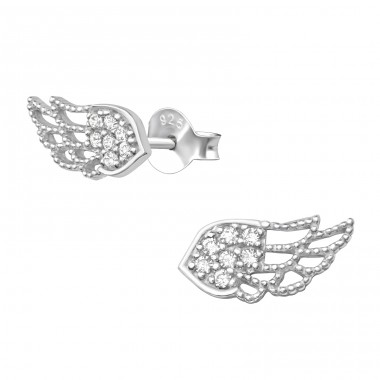 Wing - 925 Sterling Silver Ear Studs with Zirconia stones A4S40673
