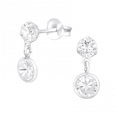 Round - 925 Sterling Silver Ear Studs with Zirconia stones A4S40962