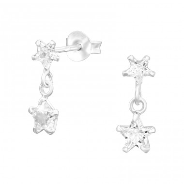 Hanging Star - 925 Sterling Silver Ear Studs with Zirconia stones A4S40974
