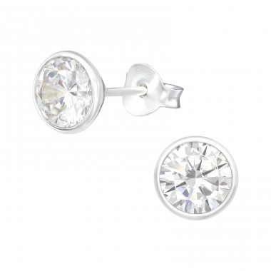 Round - 925 Sterling Silver Ear Studs with Zirconia stones A4S40976