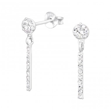 Round With Hanging Bar - 925 Sterling Silver Ear Studs with Zirconia stones A4S40985