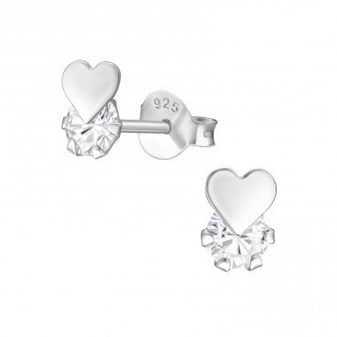 Heart - 925 Sterling Silver Ear Studs with Zirconia stones A4S41056