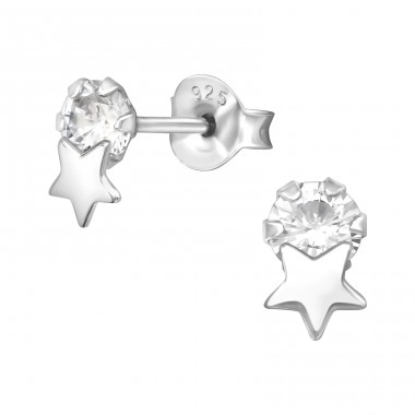 Star on Zirconia - 925 Sterling Silver Ear Studs With Zirconia Stones A4S41059