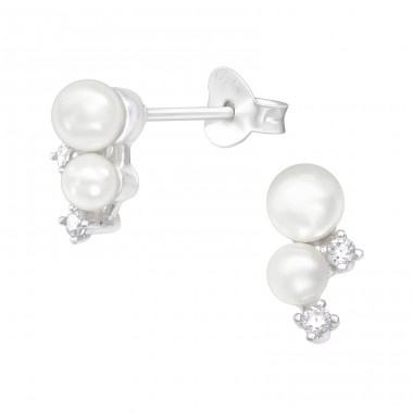 Geometric with pearls - 925 Sterling Silver Ear Studs With Zirconia Stones A4S41080