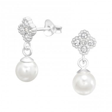 Flower with hanging pearls - 925 Sterling Silver Ear Studs With Zirconia Stones A4S41091