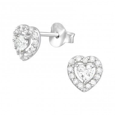 Zirconia Heart - 925 Sterling Silver Ear Studs With Zirconia Stones A4S41104