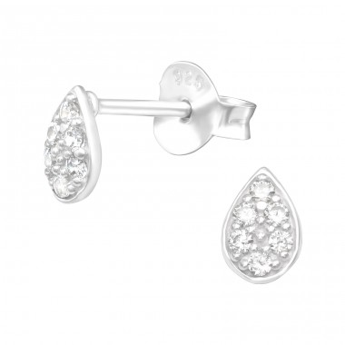 Teardrop - 925 Sterling Silver Ear Studs with Zirconia stones A4S41105