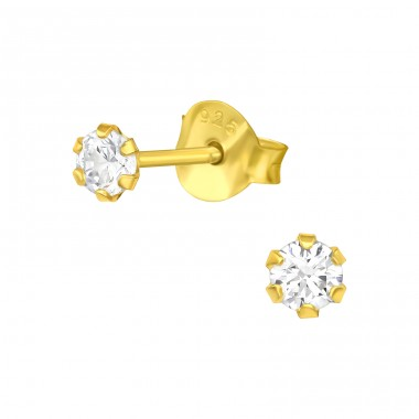 Golden 3mm Round - 925 Sterling Silver Basic Ear Studs A4S41107