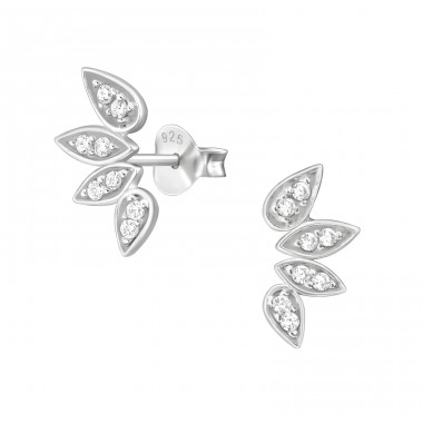 Leaf - 925 Sterling Silver Ear Studs with Zirconia stones A4S41117