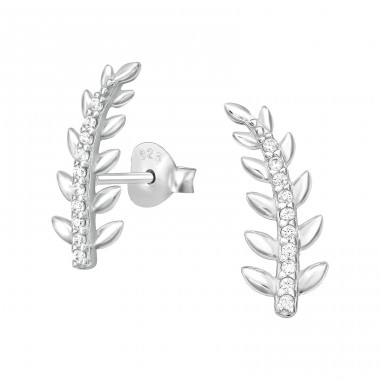 Leaf - 925 Sterling Silver Ear Studs with Zirconia stones A4S41119